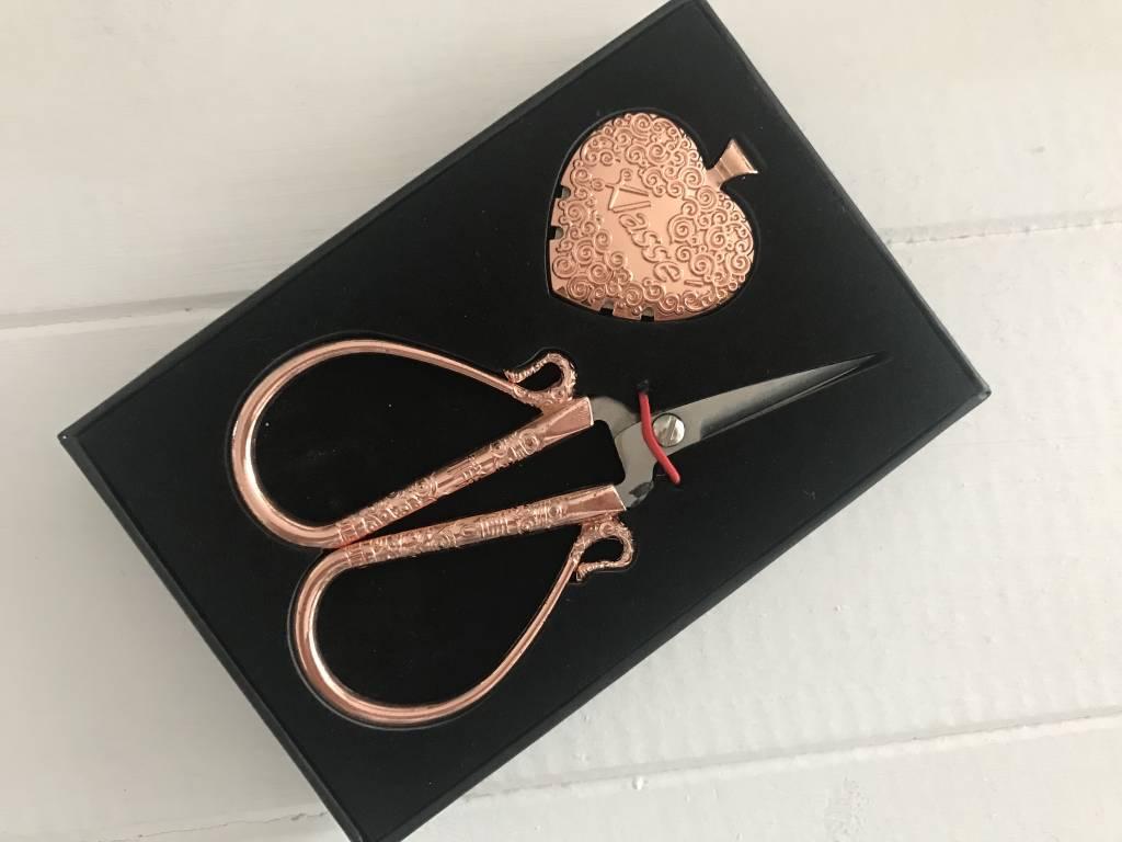 Rosegoldene Schere Geschenkset