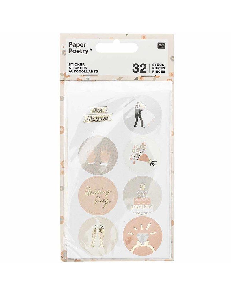 Paper Poetry 32x Paper Poetry Sticker Hochzeit Rund
