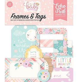 Echo Park Hello Baby Girl Frames & Tags Ephemera