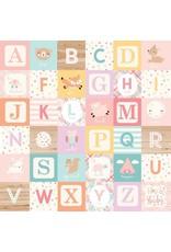 Echo Park Hello Baby Girl Cardstock 12x12  Alphabet Blocks