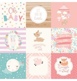Echo Park Hello Baby Girl Cardstock 12x12   4x4 Journaling Cards