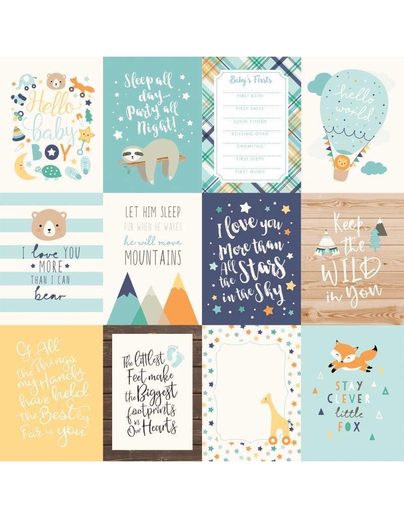 Echo Park Hello Baby Boy Cardstock 12x12  3x4 Journaling Cards