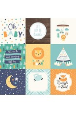 Echo Park Hello Baby Boy Cardstock 12x12  4x4 Journaling Cards
