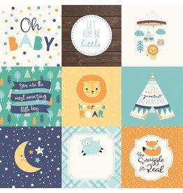 Echo Park Hello Baby Boy Cardstock 12x12  4x4 Journaling Cards