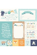 Echo Park Hello Baby Boy Cardstock 12x12  4x6 Journaling Cards