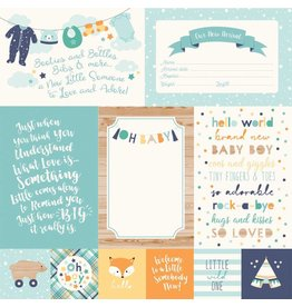 Echo Park Hello Baby Boy Cardstock 12x12  4x6 Journaling Cards