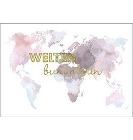 Postkarte mit Goldfolie Weltenbummlerin