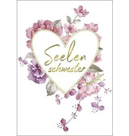 Postkarte mit Goldfolie Seelenschwester