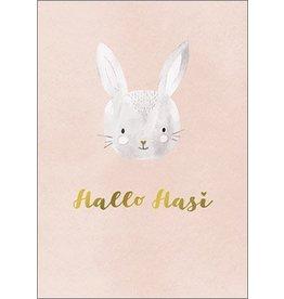 Postkarte mit Goldfolie Hallo Hasi