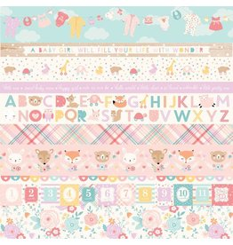 Echo Park Hello Baby Girl Cardstock 12x12  Border Strips