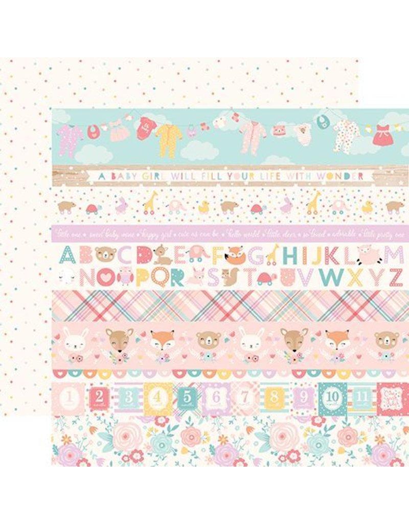 Echo Park Hello Baby Girl Cardstock 12x12  Border Strips