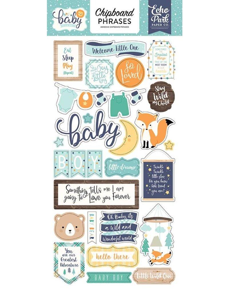 Echo Park Hello Baby Boy Chipboard Phrases