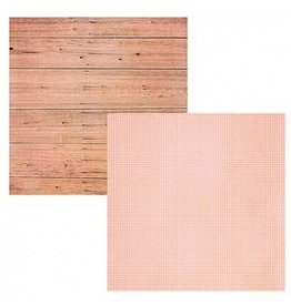 Simple Stories Pink Wood / Grid Cardstock 12x12