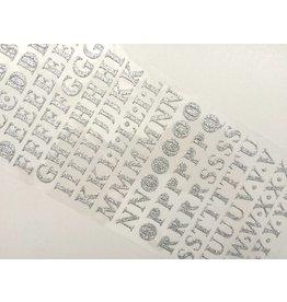 Alphabet Glitzer Sticker Silber
