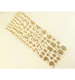 Numbers Gold Glitzer Sticker