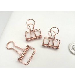 3x Binder Clips Rosegold 32mm