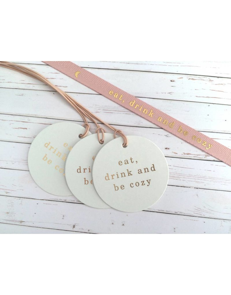 3x Hangtags eat,drink and be cozy