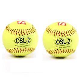 OSL-2 balle de compétition softball, 12'', jaune 2 pièces