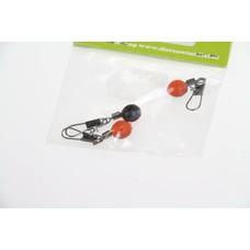 JTB feeder beads orange/black round | 3 pcs