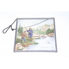 Currier & Ives salmon fishing stained glass | 16x16cm