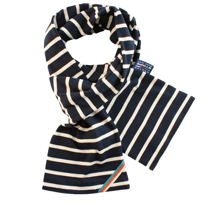 BretonStripe BretonStripe sjaal Navy-Naturel