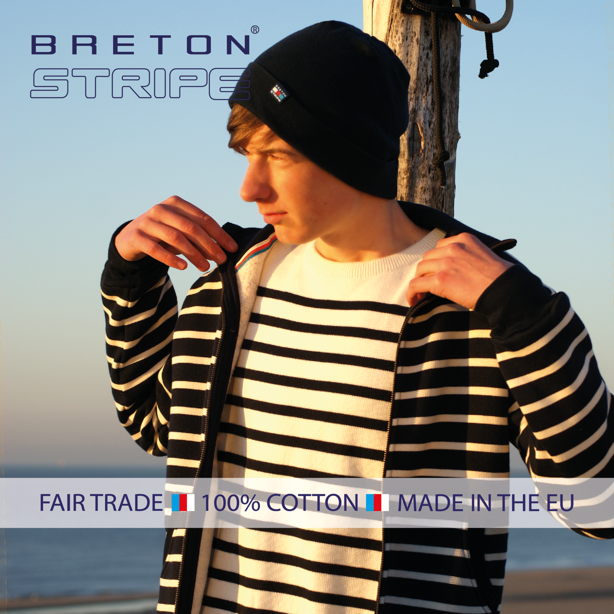 BretonStripe BretonStripe hooded vest Navy-Naturel