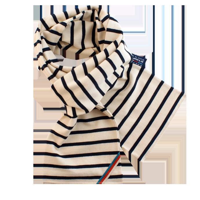 BretonStripe BretonStripe sjaal Naturel-Navy