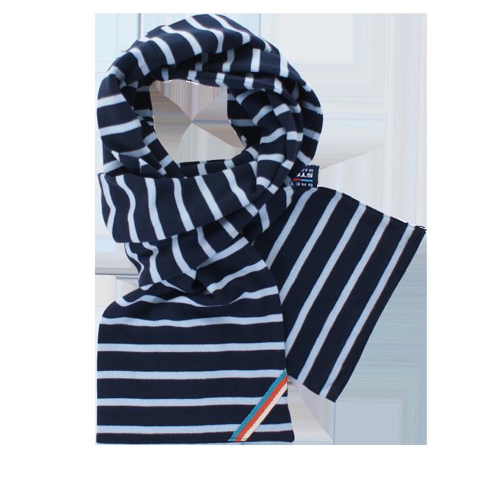 BretonStripe BretonStripe sjaal Navy-Sky Blue