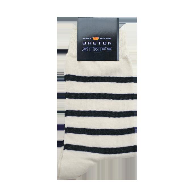 BretonStripe BretonStripe sokken Naturel - Navy