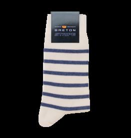 BretonStripe BretonStripe sokken Naturel - Jeans