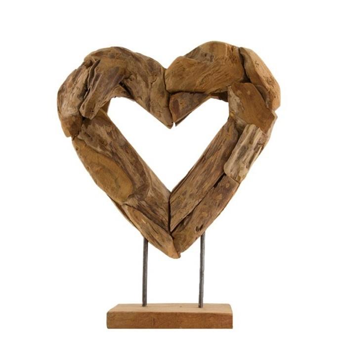 Dijk Naturel Collections Houten open hart op voet 48 cm