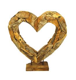 Dijk Naturel Collections Houten open hart op voet 70 cm