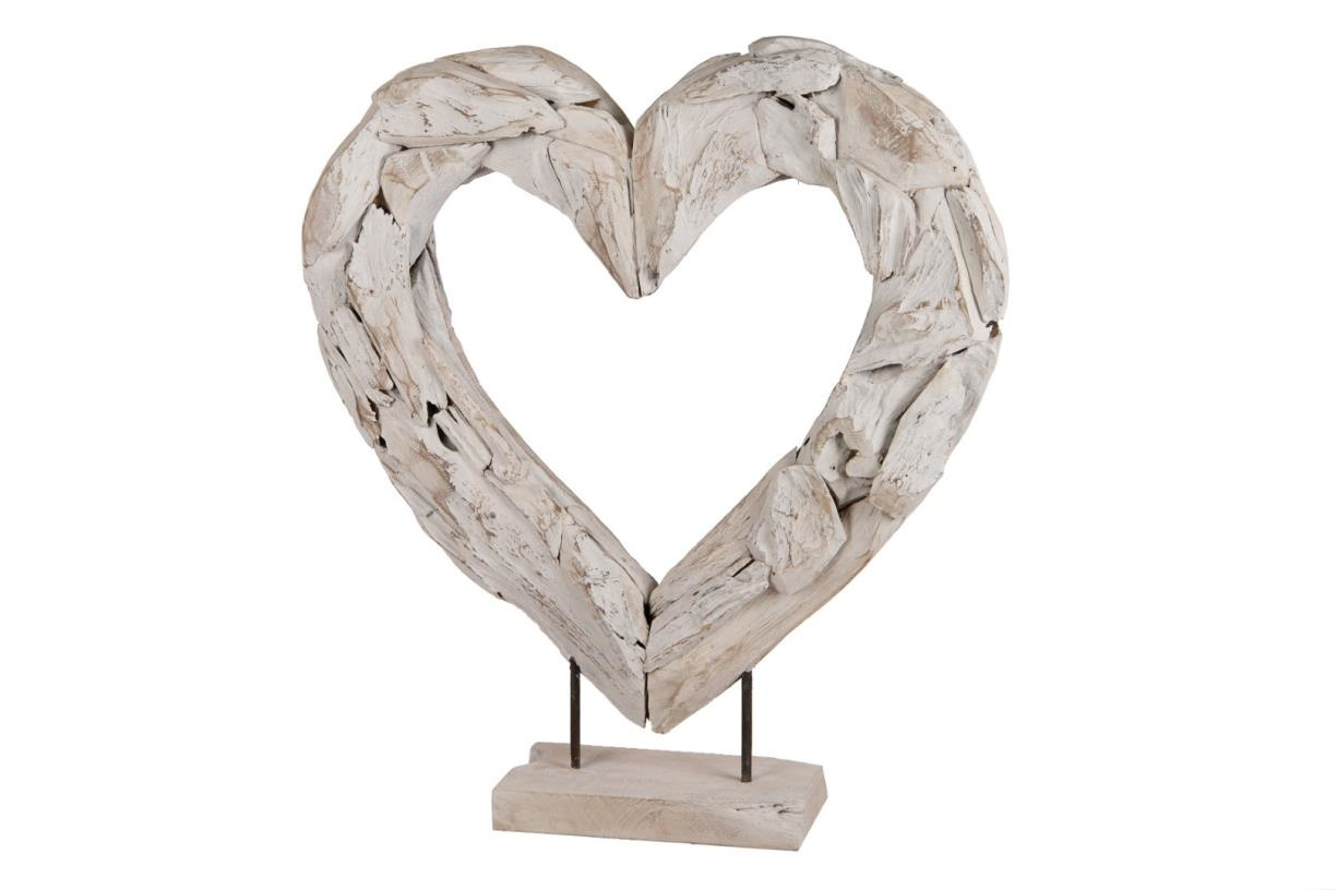 Dijk Naturel Collections Houten open hart op voet 70 cm whitewash