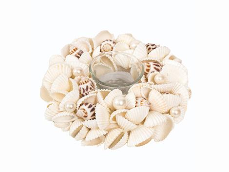 Theelichthouder wreath shell 18cm