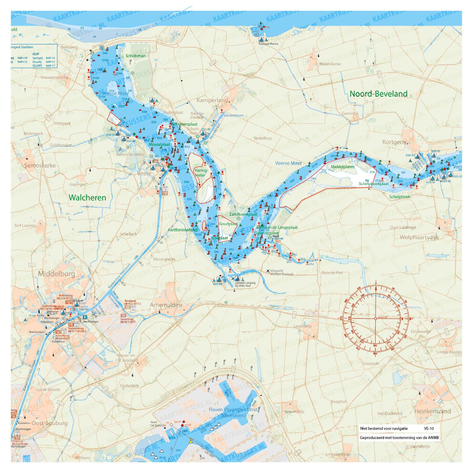 Kaartkussen waterkaart Veerse Meer