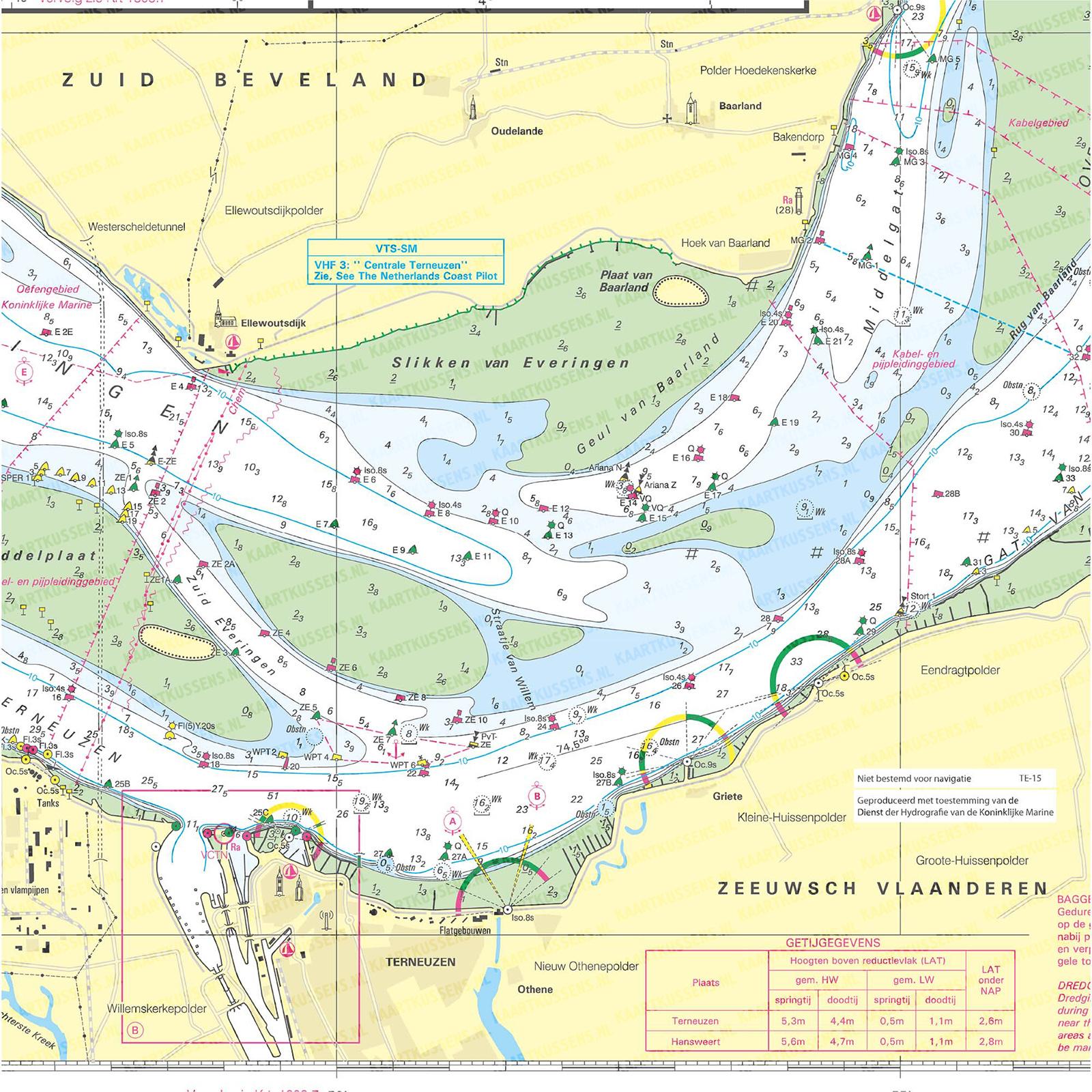 Kaartkussen waterkaart Terneuzen