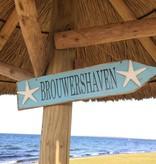 Bord pijl blauw Brouwershaven