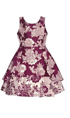 Bonnie Jean dress brocade burgundy