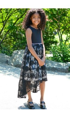 Bonnie Jean dress soutache skirt black