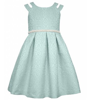 Bonnie Jean dress jaquard aqua