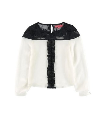 Derhy Kids Orianna blouse lace duo tone ecru / black