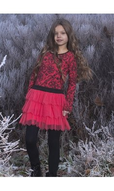 LoFff Party dress Red Coral - Black