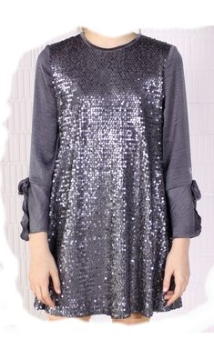 Amaya dress vestido tres chic sequins grey
