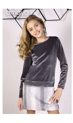 Amaya dress vestido tres chic fur grey