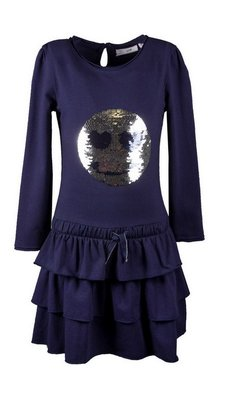 Happy Girls smiley dress navy
