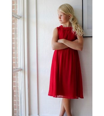 Creamie Dress Chiffon Crimson