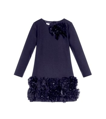 Kate Mack/Biscotti Dress Ruffles and roses navy