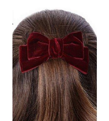 Party fluwelen haarstrik met clip bordeaux