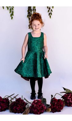 Bonnie Jean dress brocade green