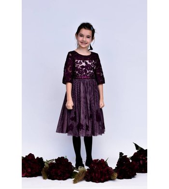 Bonnie Jean dress embroided aubergine